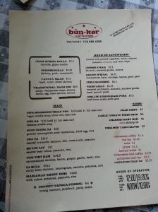 bun-ker menu