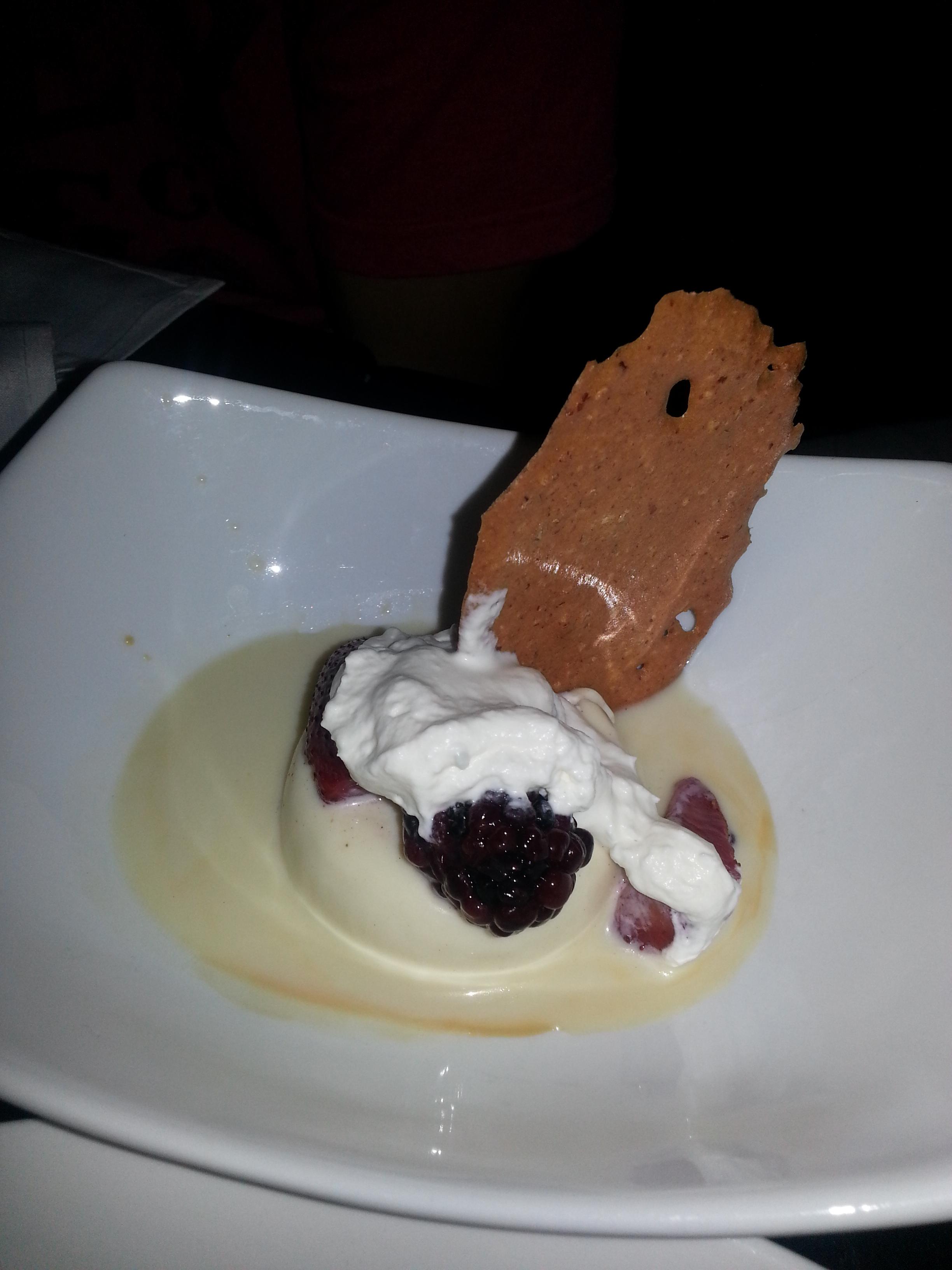 White Chocolate Panacotta – Caramel, Fresh Berries, Hazelnut Tuile ...